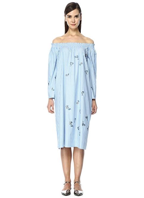 Beymen Collection Kayık Yaka Çizgi Desenli Midi Boy Elbise Mavi